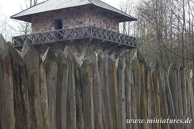Close-up of the palisade e watchtower