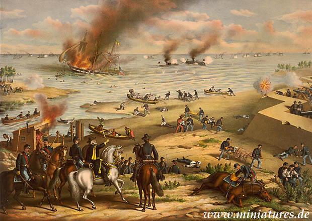 Batalla de Hampton Roads, 8–9 March 1862, la batalla del Monitor y el Merrimac a la boca del canal de Hampton Roads.