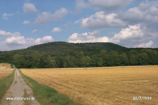 View from the fields northwest of Hastenbeck, looking northeast, toward the Obensburg