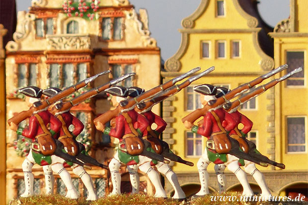 Irish fusiliers of the French infantry regiment de Bulkeley, 40 mm Miniatures Prince August 17