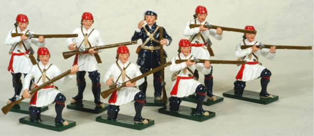 Sergeant and men of the French Compagnies Franches de la Marine, 54 mm Miniatures Tradition of London Toy Set 621