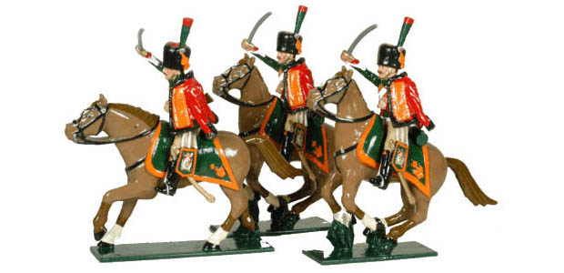 Cazadores a Caballo de la Guardia Imperial Francesa, 1804–1815, 54 mm Figuras Tradition of London Toy Set 758