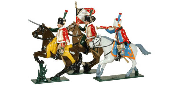 Officer, Porte-Aigle, Trumpeter de las Cazadores a Caballo de la Guardia Imperial Francesa, 1804–1815, 54 mm Figuras Tradition of London Toy Set 758
