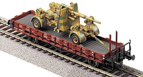 8,8 cm Flak 36/37 verladen auf Rungenwagen, camouflaged, 1:87 Modellismo Roco 857