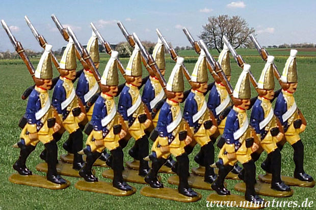 Grenadiers of the Hessian Infantry Regiment Prince Ysenburg marching off the Battlefield at Bergen, 40 mm Miniatures Nürnberger Meisterzinn 1102