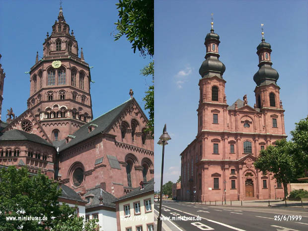 Mainz Cathedral, built 978-1009, at left; St. Peters-Kirche Church, completed in 1756, at right.