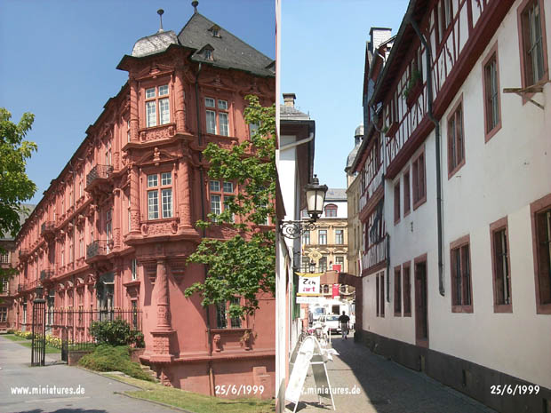 Electoral Palace and Gate on Große Bleiche at left; City street in the old town at right