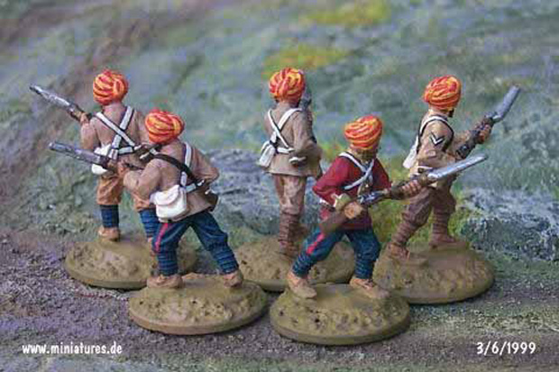 British Indian 15th Bengal Infantry (Ludhiana Sikhs), 25 mm Figuras Ral Partha 88-101 & 88-103