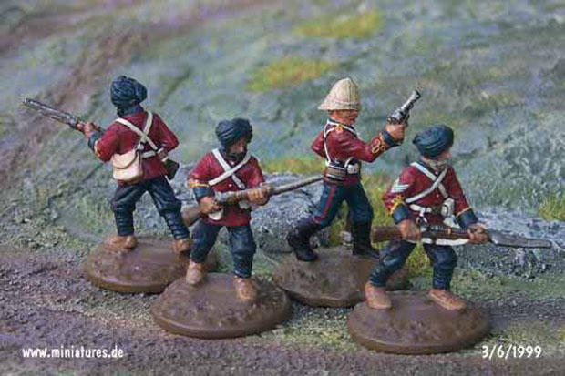British Indian 34th (Punjab) Regiment, Bengal Infantry Pioneers, 25 mm Figuras Ral Partha 88-101 & 88-103