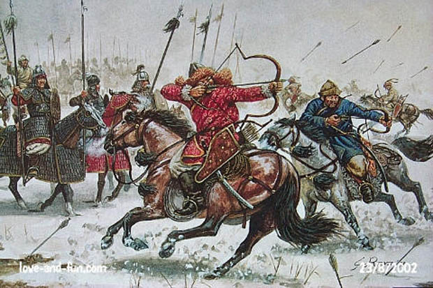 Italeri's Golden Horde Mongols may be used to recreate the mounted elements of DBA Army 154 – Mongols