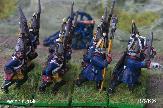 Prussian Regiment Garde (Nr. 15), III. Bataillon, 15 mm Figuras Old Glory