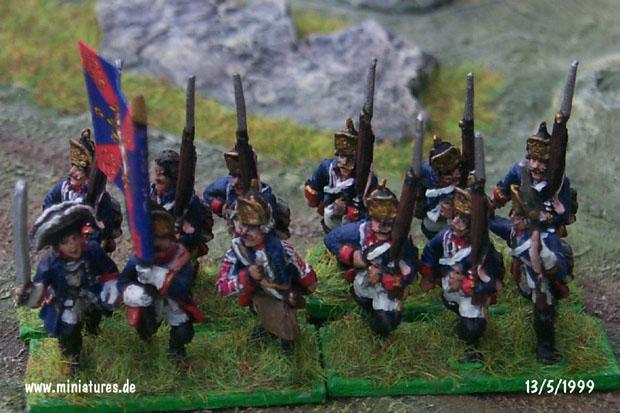 Prussian Infantry Regiment Erbprinz Friedrich II. von Hessen-Cassel (Nr. 45), 15 mm Figuras Old Glory