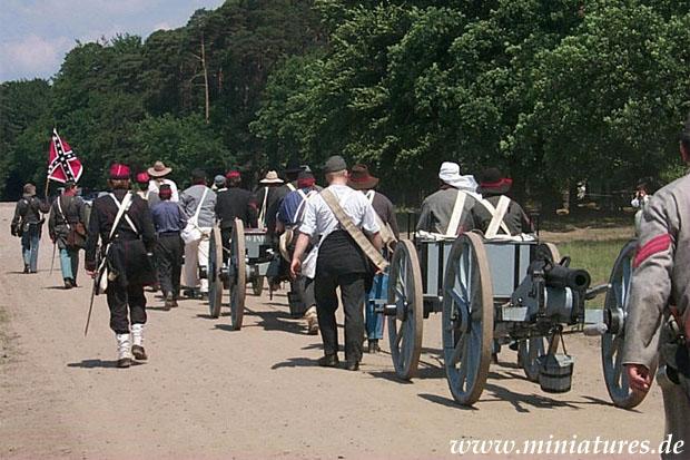 Confederate Artillery column, being manhandled