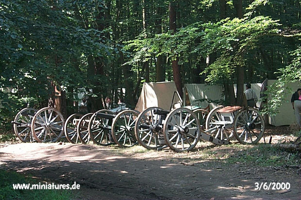 Confederate Artillery guns and limbers in camp