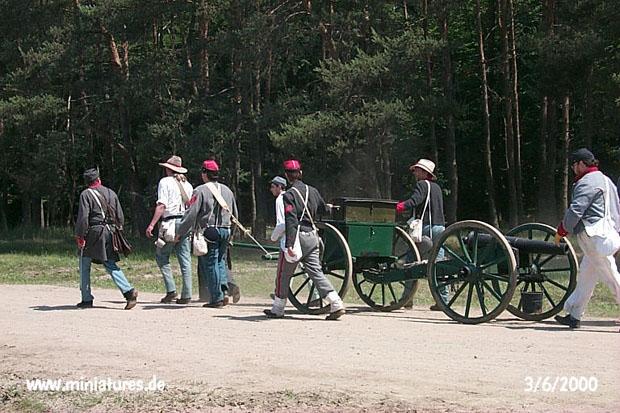 Artiglieria Confederata di Staunton being manhandled