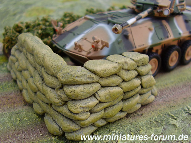 Sandbagged anti-tank gun emplacement made from DAS Pronto modelling clay available at hobby shops.