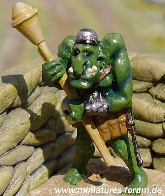 Orc miniature with Panzerfaust rocket launcher