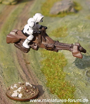 Imperial Scout Trooper demonstrating the repulsorlift anti-grav technology of his Aratech 74-Z military speeder bike