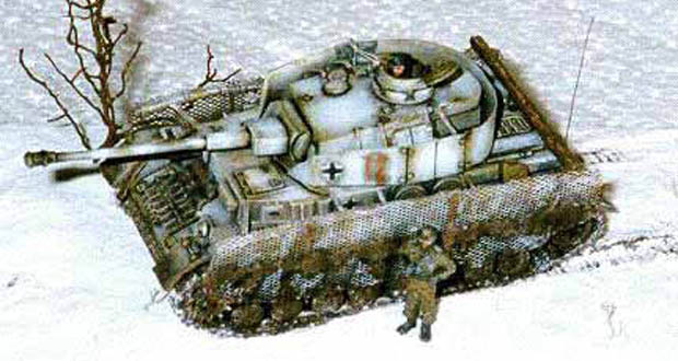 German Panzer IV Ausf. G3 tank con winter camouflage pattern