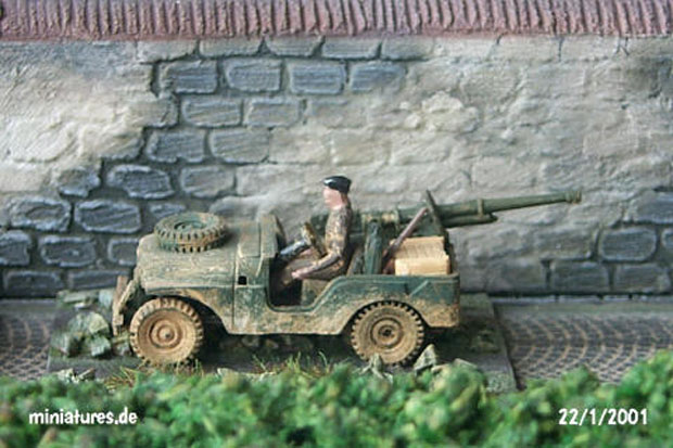 Willys Jeep M38 A1 converted to Bantam GMC (Gun Motor Carriage), 1:87 H0 Model Kit ROCO 143