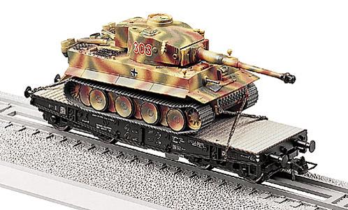 Tiger E verladen auf Ssy, camouflaged, 1:87 Modellismo Roco 856