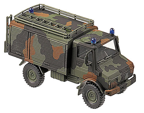 Unimog TLF 1000 fire engine, camouflaged, 1:87 Maqueta Roco 862