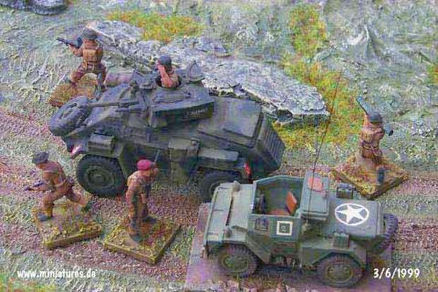 Recce Group Británico. Carro Blindado Humber, Daimler Dingo y Infantería, 1:76 Maqueta Matchbox